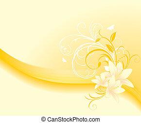 floral, lis, ornement