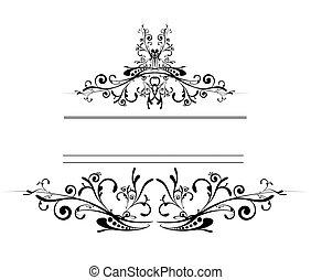 floral, logo, bouclier