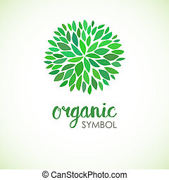 Floral logo design template. Green life and organic ornamental concept.