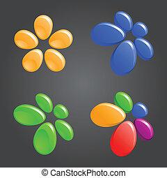 floral logo elements