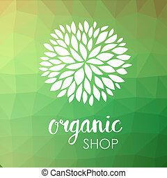 Floral logo. White flower on low poly green triangle pattern. Green life and organic ornamental concept.