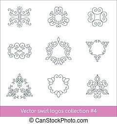 Floral logos collection. Swirl elements for design. Thin line.