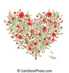 Floral love bouquet for your design, heart shape