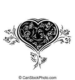 Floral love card. Heart