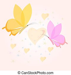 Floral Love Shape. Vector Heart of butterflies. Valentine Day ca
