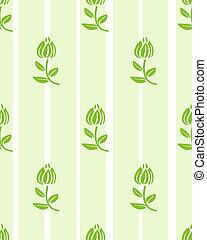 floral, lumière, papier peint, vert