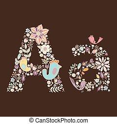 floral, luminoso, a., letra, elemento