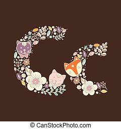 floral, luminoso, c., letra, elemento