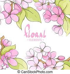 floral, luminoso, modelo