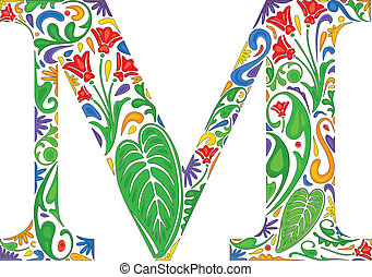 Floral M - Colorful floral initial capital letter M