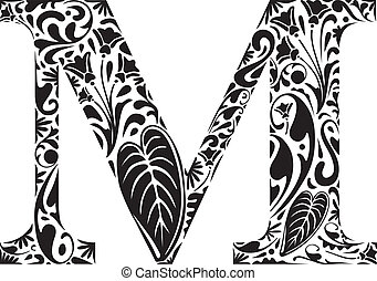 Floral initial capital letter M