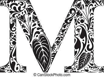 Floral M - Floral initial capital letter M