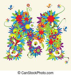 floral, m, letra, design.