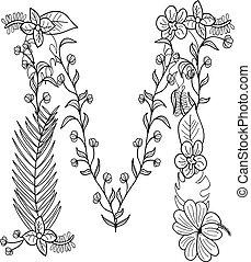floral, m, ornamento, letra