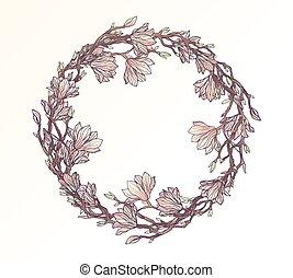 floral, magnolia, cirkel, frame, mal