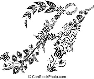 floral, maiúscula, h, letra, monogram