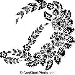 floral, maiúscula, letra, d, monogram