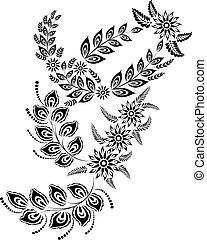 floral, majuscule, g, lettre, monogram