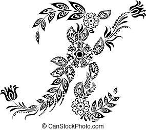 floral, majuscule, k, lettre, monogram