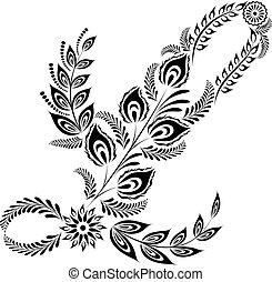 floral, majuscule, l, lettre, monogram