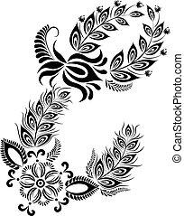 floral, majuscule, lettre e, monogram