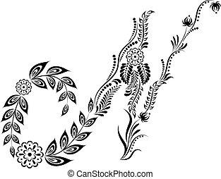 floral, majuscule, lettre n, monogram