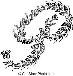 floral, majuscule, lettre p, monogram