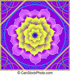 Floral mandala in shades of purple - Kaleidoscopic floral...