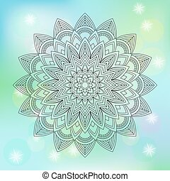 Floral mandala on abstract background, vector illustration