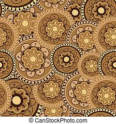 Sepia Mandala Seamless Pattern Tile