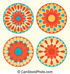 Floral mandalas - Set of round floral design elements