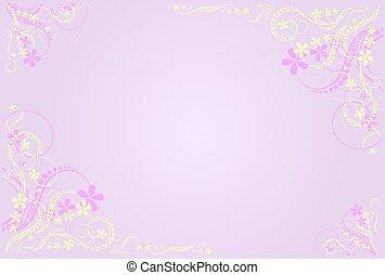floral, marco, artístico, lila
