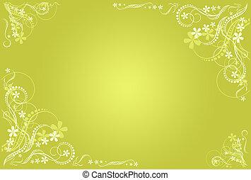 floral, marco, artístico, ocre