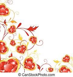 floral, marco, con, joyas, corazones