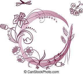 floral, marco, con, lugar, para, su, texto