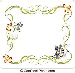 floral, marco, con, mariposas
