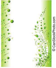floral, marco, con, remolinos, y, follaje, en, verde