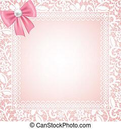 floral, marco, encaje