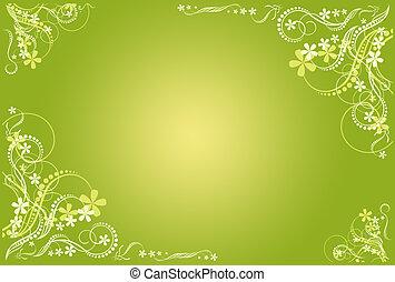 floral, marco, verde, artístico