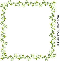 floral, marco, verde