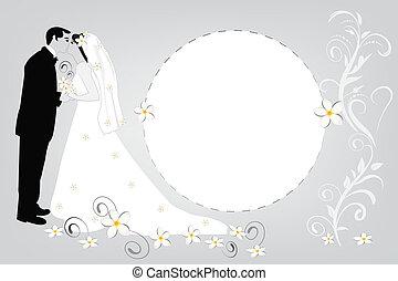 floral, mariage, carte, invitation