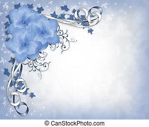 floral, mariage, frontière, bleu, gardénias