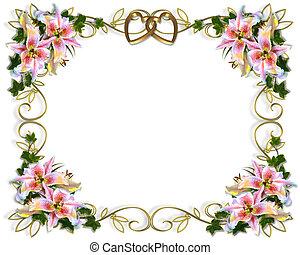 floral, mariage, lis, invitation