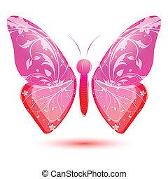floral, mariposa