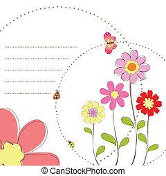 floral, mariposa, primavera
