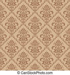 floral, marrón, papel pintado, seamless