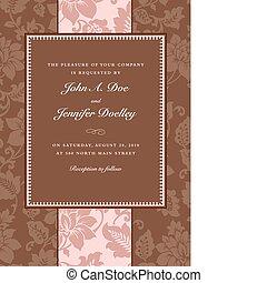 floral, marrón, rayado, vector, marco