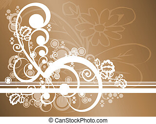 floral, marrón, resumen