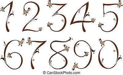 floral, marrom, números