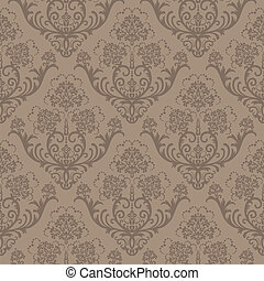 floral, marrom, papel parede, seamless
